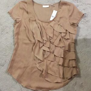 NY & Co. tan blouse size small